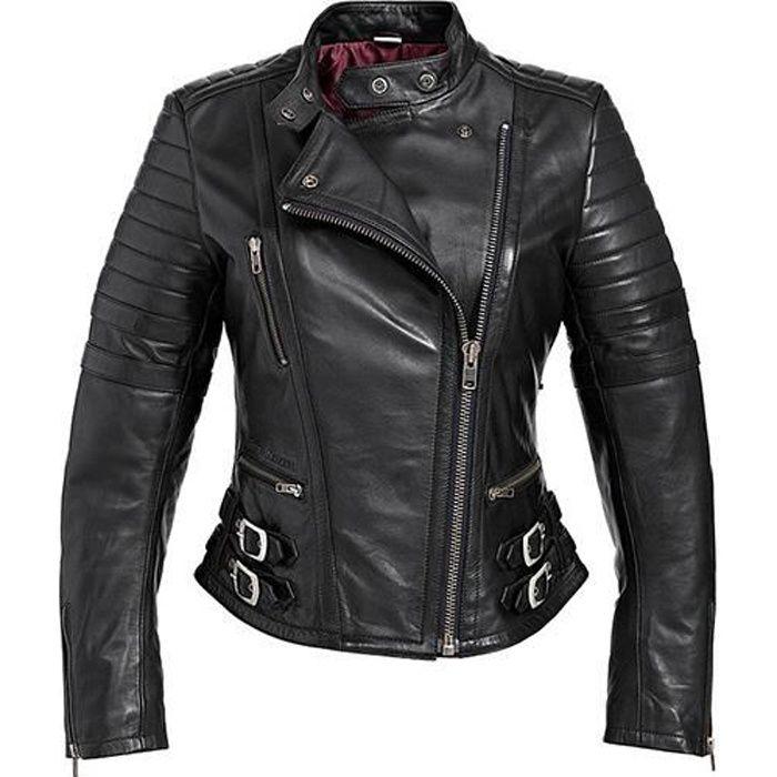 blouson moto cuir noir pour femme taille l achat vente blouson veste blouson moto cuir. Black Bedroom Furniture Sets. Home Design Ideas