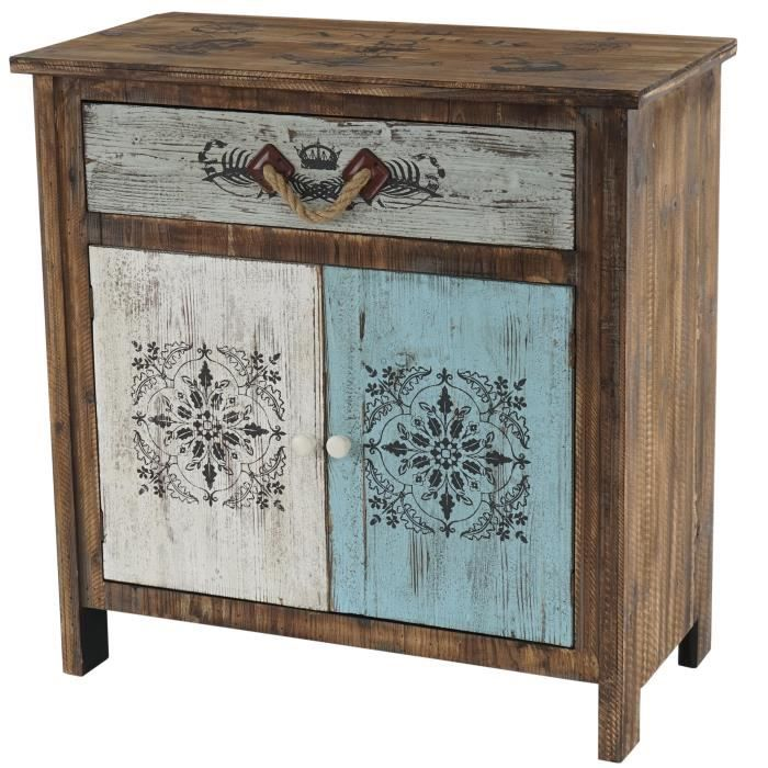 commode funchal armoire table d 39 appoint vintage shabby chic 84x80x40cm achat vente. Black Bedroom Furniture Sets. Home Design Ideas