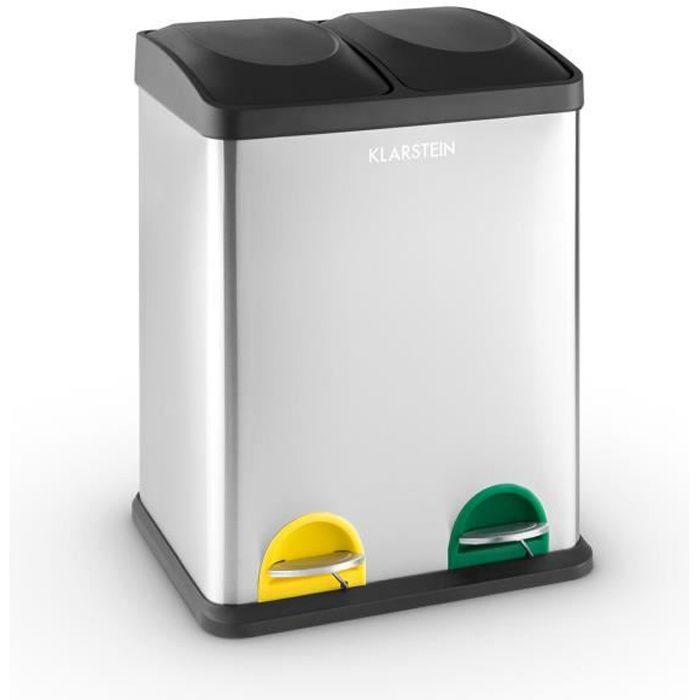 klarstein kosystem poubelle de cuisine p dale en acier inox avec 2 compartiments de 18l. Black Bedroom Furniture Sets. Home Design Ideas