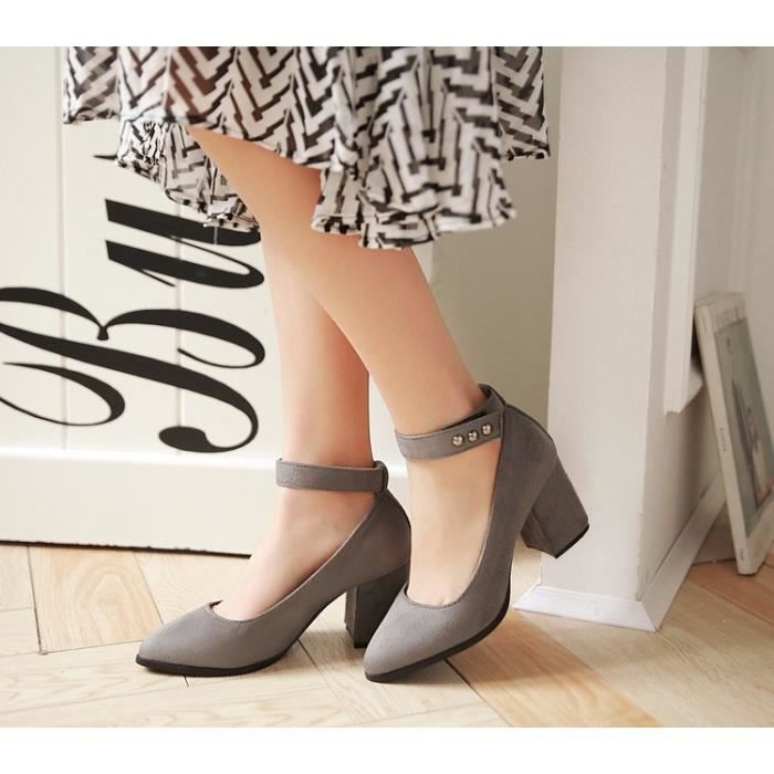 talons hauts-Pure Color Heel Thick Women Band p...