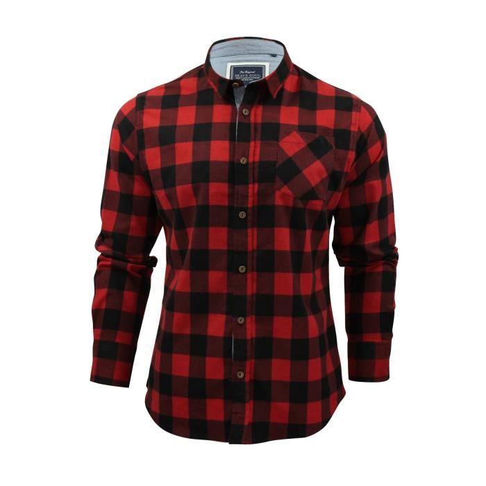 Chemise pour homme en flanelle brossée à carreaux et manches longues Brave  Soul 5c14ec20e89a