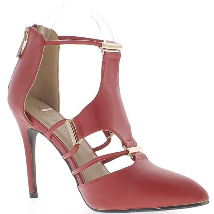 cuir avec 10 Rouge Escarpins Couleur à lacets rouges de bouts 5cm aspect talons fins ouverts pointus HvqPf