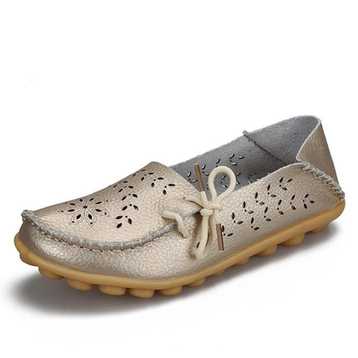 Moccasins femme En Cuir 2018 ete Nouvelle Mode De Marque De Luxe Loafer Chaussure femmes Grande Taille perforé Respirant Moccasin 34 cNWjjUcz