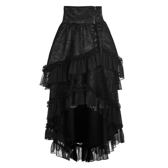 9a2cde7263591 Jupe noire taille haute, asymétrique avec froufrous et laçage, gothique  élégant