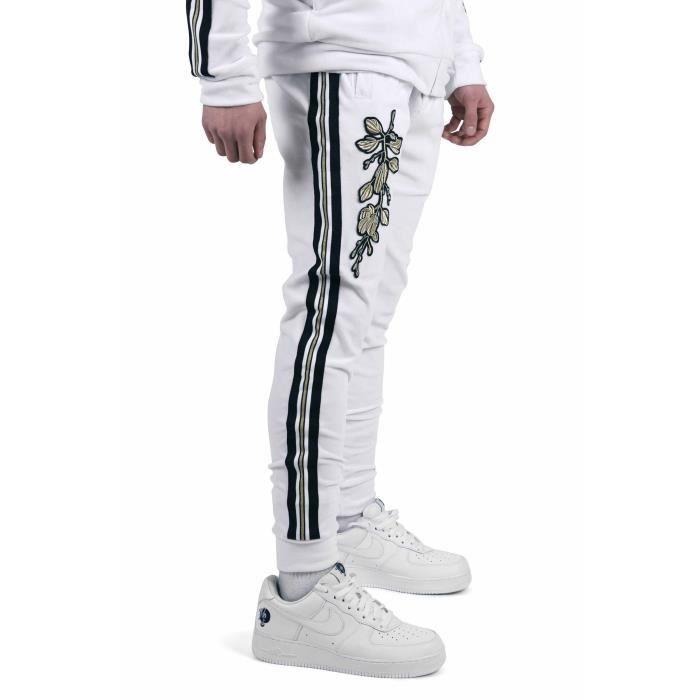 Pantalon de jogging velvet bandes contrastantes et patch floral doré Homme  Project X Paris (S - Blanc) e839fa04120b