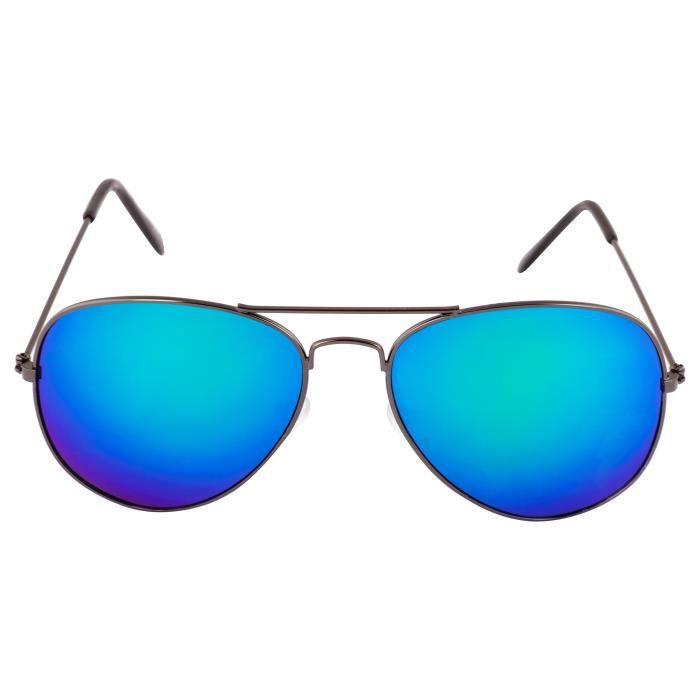 Lunettes de soleil aviateur Mirrored (pour les femmes en noir Vert Noir Miroir-3025 | 50 | Objectif vert) J1CQ8