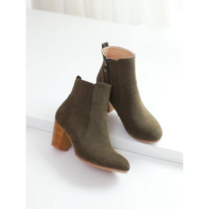 bottes courtes-Pure Color Round Toe Bottes de c...