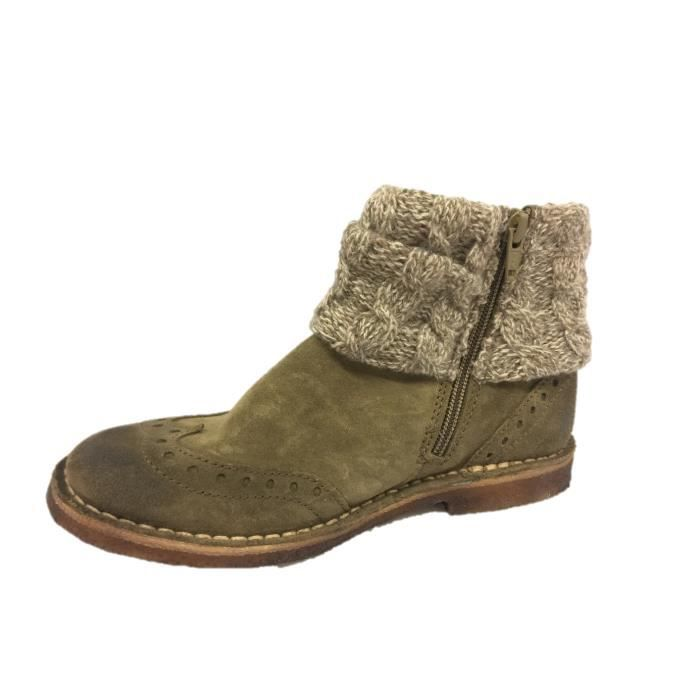 Kickers Crepon cuir taupe