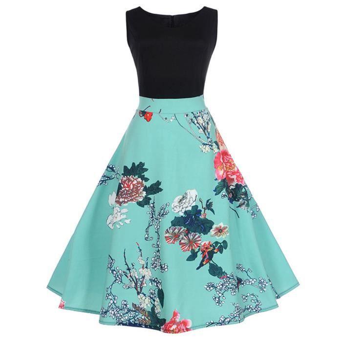 exquisgift®Mode Vintage floral Bodycon plaid sans manches robe de soirée pour femmes BLEU~HQL71205504BUA