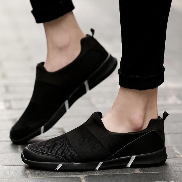 Chaussures Hommes Casual Confort extérieur Flats été pour hommes Gym Formateurs Tenis Sandales léger Mocassins Slip On,rouge,39