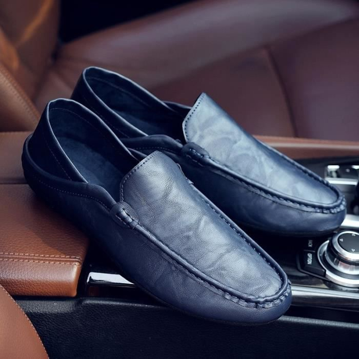 cuir véritable automne mâle mode semelle extérieure en cuir souple été mâle hommes pédale prélassait & # 39; chaussures bateau de D4e74