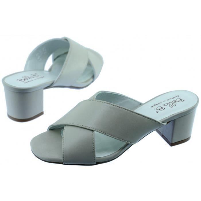 ASTANA - Mule raffinée à talon chaussures sandales pour Femme petites pointures tailles marque Bella.B cuir beige