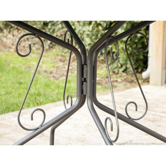 Table de jardin en acier ronde romantique diamètre 95cm AGATHA - Gris  graphite