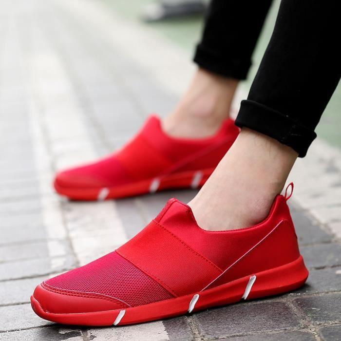 Chaussures Hommes Casual Confort extérieur Flats été pour hommes Gym Formateurs Tenis Sandales léger Mocassins Slip On,rouge,40