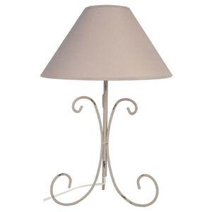 CARCASSONE Lampe poser acier 30x30x51 cm Taupe cérusé