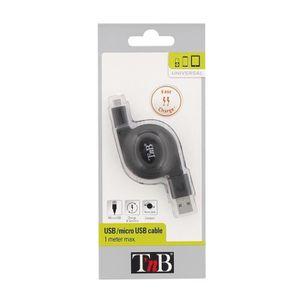 TNB Câble USB micro USB rétractable - Noir