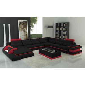 CANAPÉ - SOFA - DIVAN Canapé panoramique cuir noir et rouge design avec