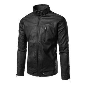 3bee371d0e8 BLOUSON Blouson de Cuir Homme Veste Homme Cuir Mode Noir