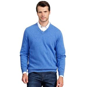 PULL hommes 100% cachemire simple V Pull col 1NVD3J Tai