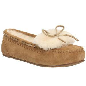 CHAUSSON - PANTOUFLE chaussons de mocassins en daim bronze glamour chau