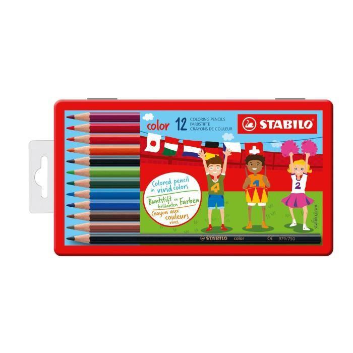 STABILO Boîte métal de 12 crayons de couleur Color