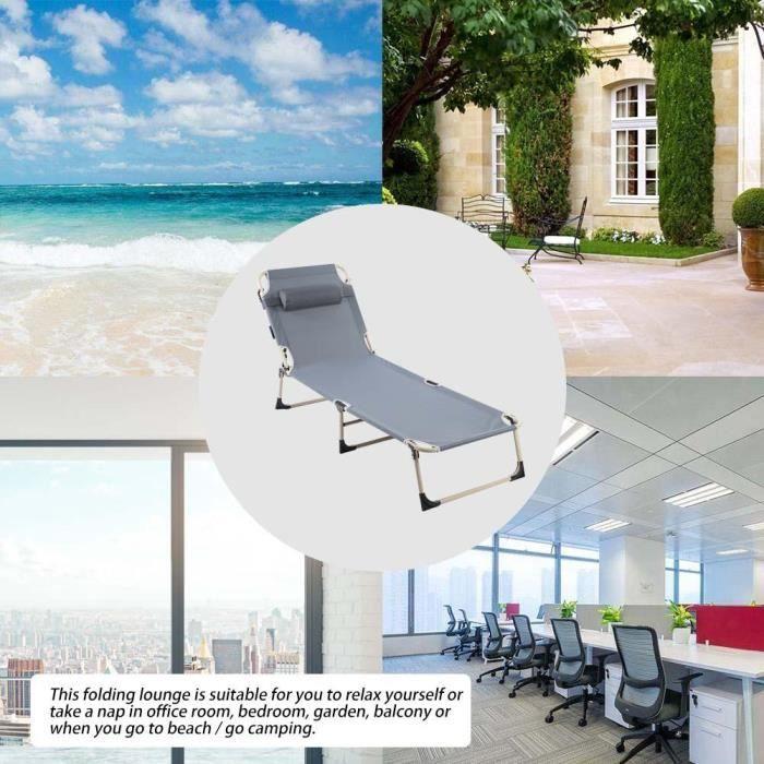 Chaise Pliante Extérieure Portative, Salon de Camping, Fauteuil Inclinable  pour Terrasse de Jardin Sur la Plage (Gris)
