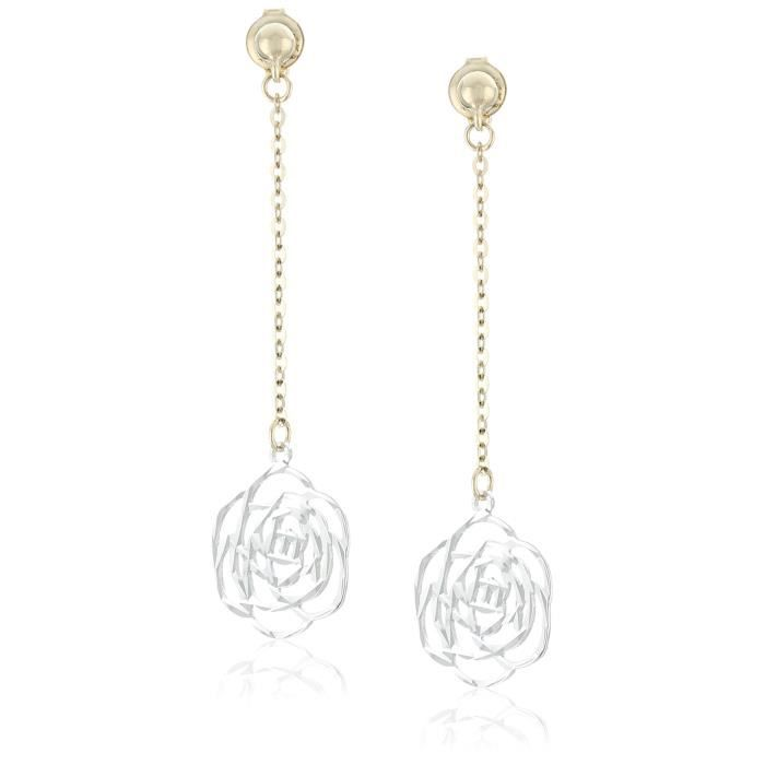 Craze 14k White And Yellow Gold Floral Dangle Earrings WFEDA