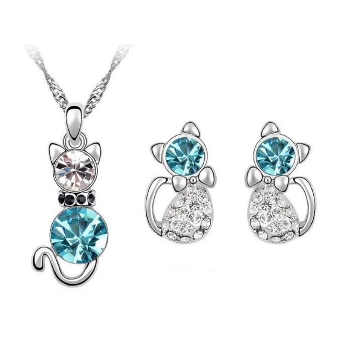 LORELYS-Cadeau Damour-ChatParure Cristal Plaque Or Blanc Collier , Boucles Doreilles Un Cadeau idéal Pour Les amoureux Des Chats