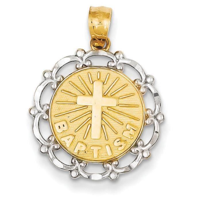 14 carats Or jaune Rhodium plaqué pendentif baptême