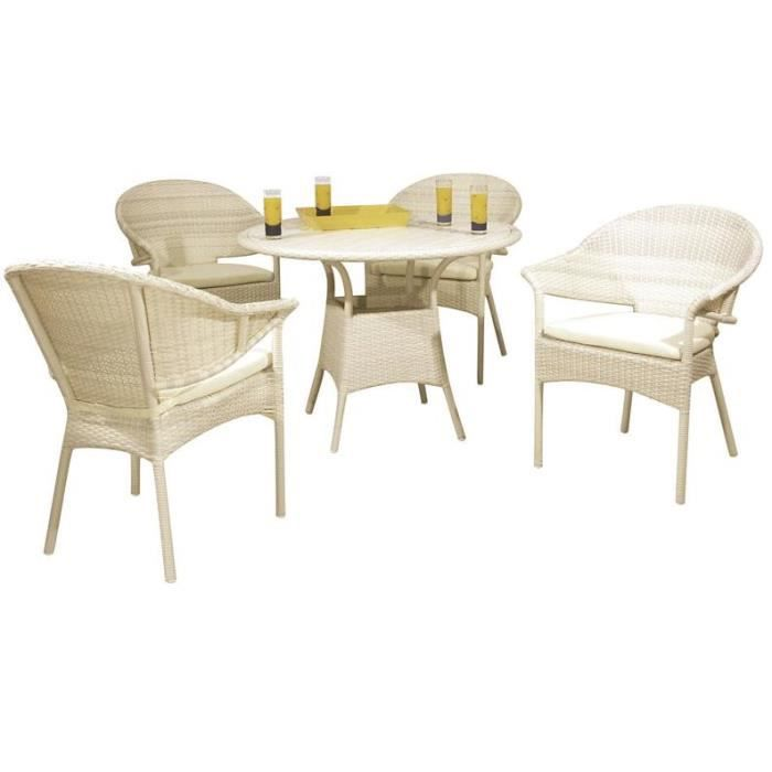 Salon de jardin en résine blanc 4 chaises avec cousin+1 table ronde ...