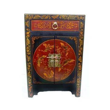 table de chevet chinoise rouge et noire achat vente chevet table de chevet chinoise ro. Black Bedroom Furniture Sets. Home Design Ideas