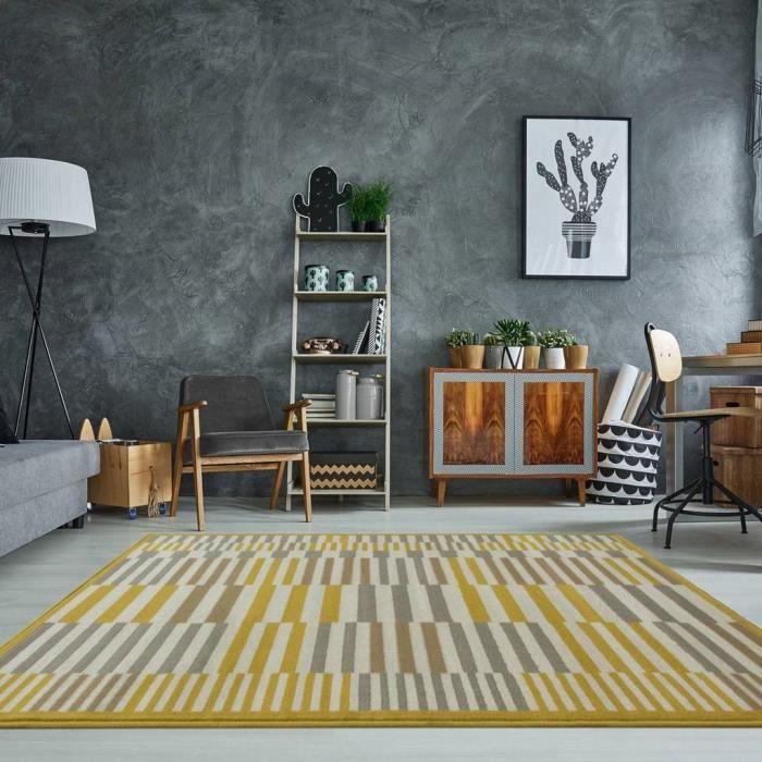 Tapis de salon Milan traditionnel, ocre, jaune moutarde, gris et beige,  motif géométrique moderne 190 cm x 280cm (6\'3\