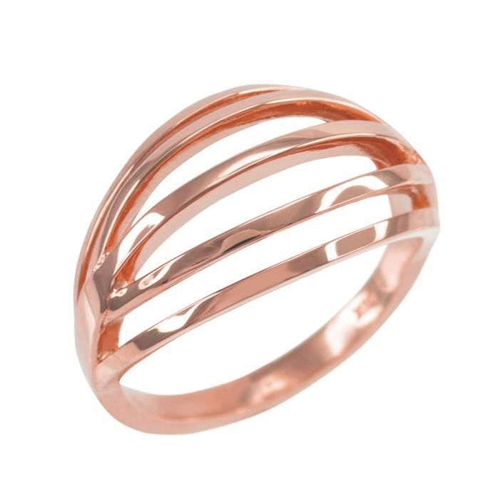 Bague Femme Solide 14 Ct Or Rose Couches
