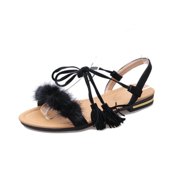 8e86c5966e9b Sandale Plate Frange Poil Bandage Confortable Mode Eté Femme Noir ...