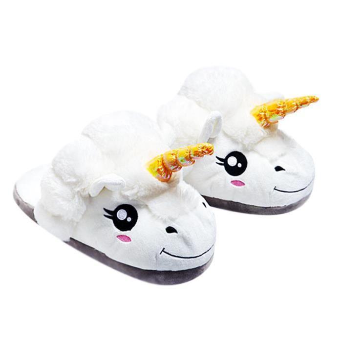 Pantoufle Licorne Enfant D'hiver Peluche Animal Coton Chaussons BBDG-XZ093Blanc32 H20Zs