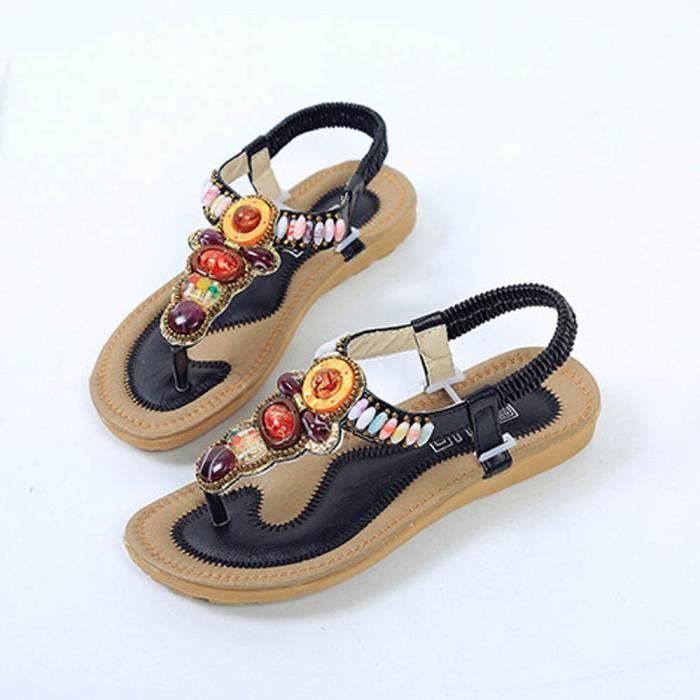 Sandales Outdoor Loisirs Chaussures Lady Cordes Femmes Bohême Peep Perles noir toe Plates Benjanies wF0x4Cq