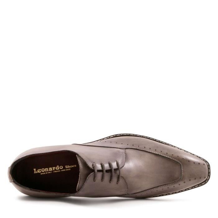 LEONARDO CUIR À SHOES LACETS CHAUSSURES GRIS HOMME 28162TAMPGRIGIO Fn4CfFq