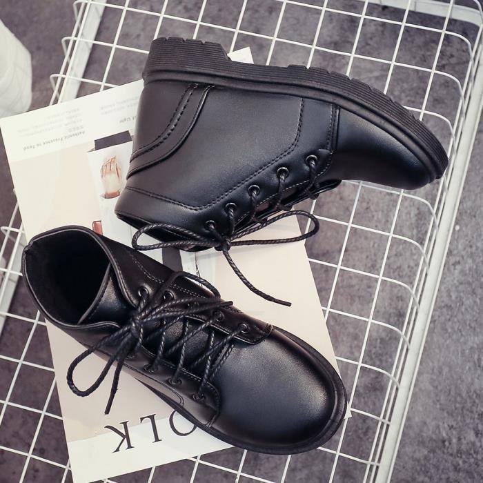 Lyh80717416bk39 Martin Étudiant Talon Femmes Épais Pachasky®mode Chaussures Courtes À Bottes Noir HqzfUw