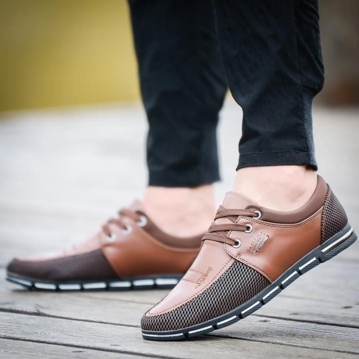 Nouveau Mode Hommes Mocassins d'été Chaussures pour hommes Les Appartements confortables Respirant Chaussures Mesh Casual tMNz79