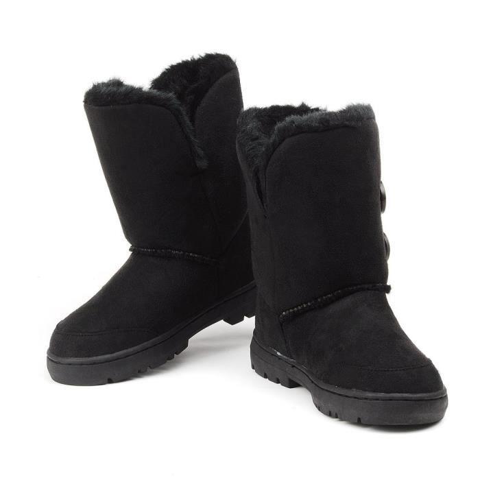 Femmes Bouton Twin Entièrement doublé de fourrure Bottes imperméable hiver neige JEJZD Taille-38