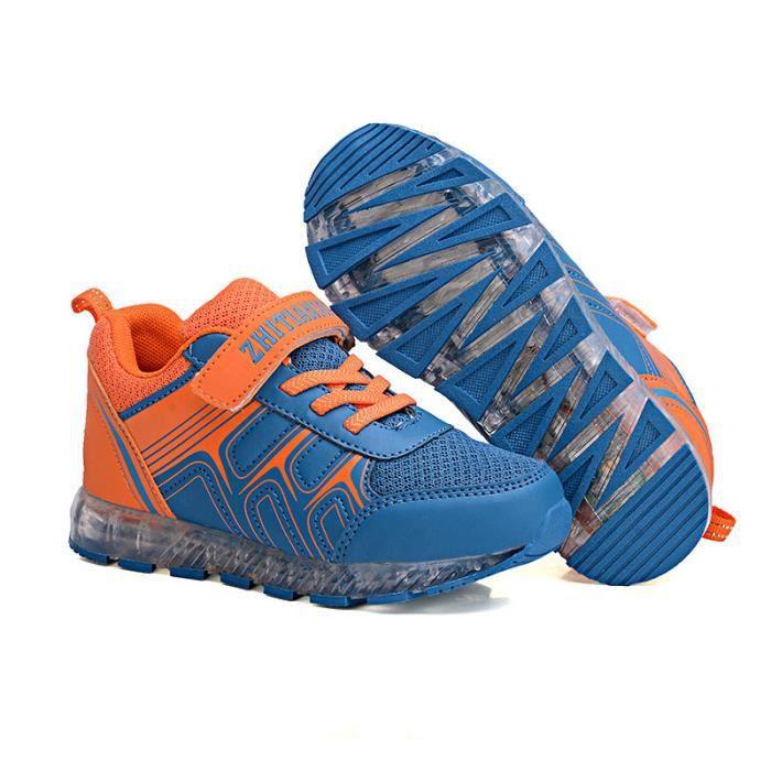 Cool LED Chargement USB 7 Couleur Chaussures de Sports Maille Respirant Baskets Lumineux Chaussures Enfants Lumière