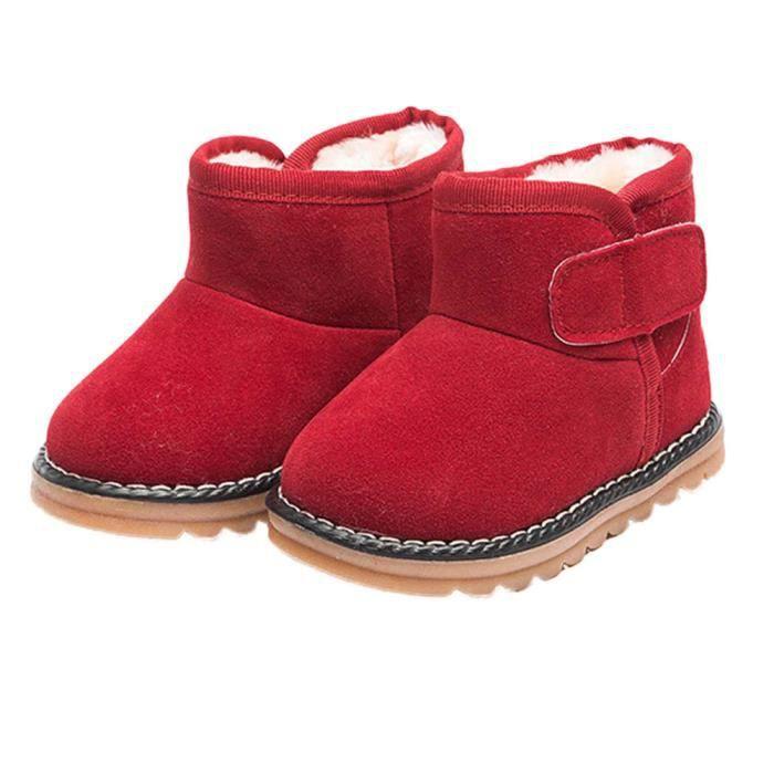 BOTTE Infant Toddler bébé filles bottes garçons enfants hiver épais bottes de neige fourrure chaussures@RougeHM
