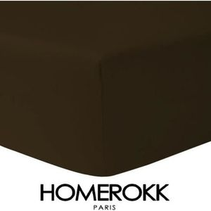 DRAP HOUSSE Drap Housse 200 x 200 - CHOCO 100% coton 57 fils /
