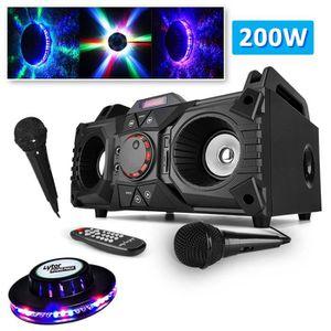 ENCEINTE ET RETOUR Enceinte karaoke Sono mobile 200W - USB-SD-BT + 2