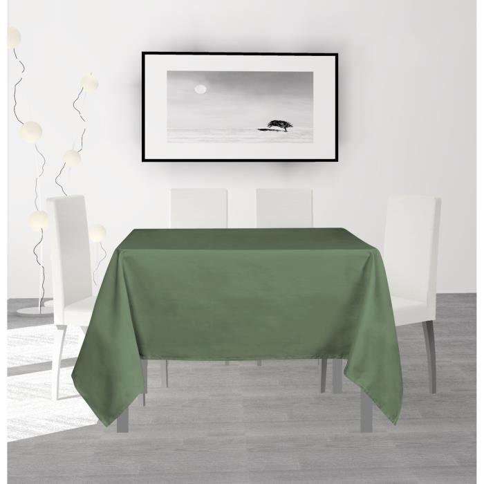 SOLEIL D'OCRE Nappe anti-tâches carrée Alix - 140 x 140 cm - Vert