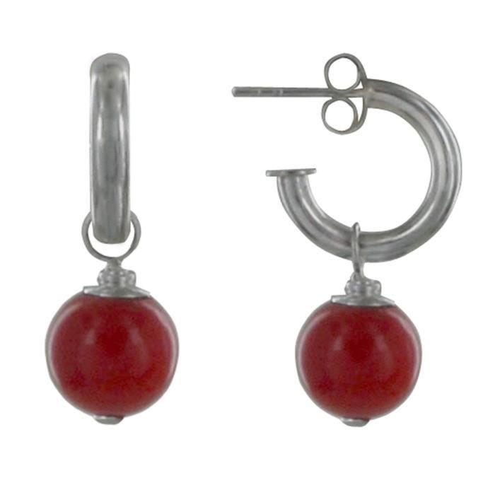 Les Poulettes Bijoux - Boucles dOreilles Argent Demi Créoles et Billes Rouges