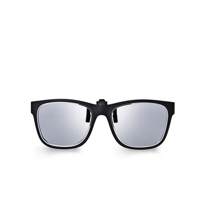 A2140-201704013 Cadre en plastique noir clip sur Flip Up polarisants Argent Lunettes de soleil lentille