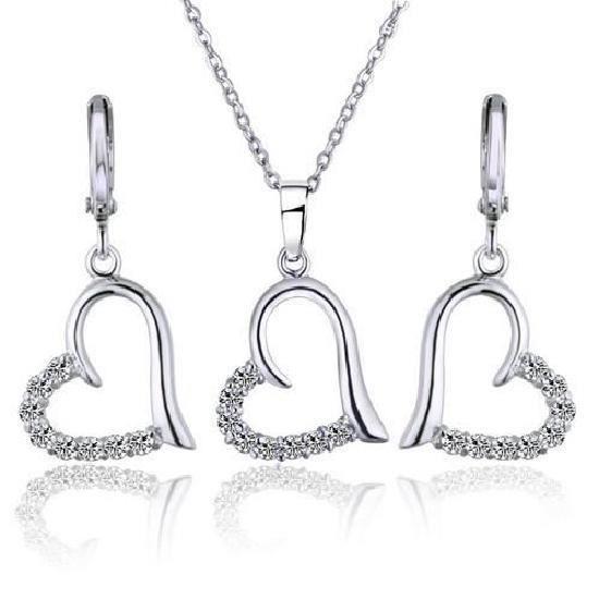 Parure Bijoux 4 pièces Coeur Love Cristal OZ Blanc Or Laminé*