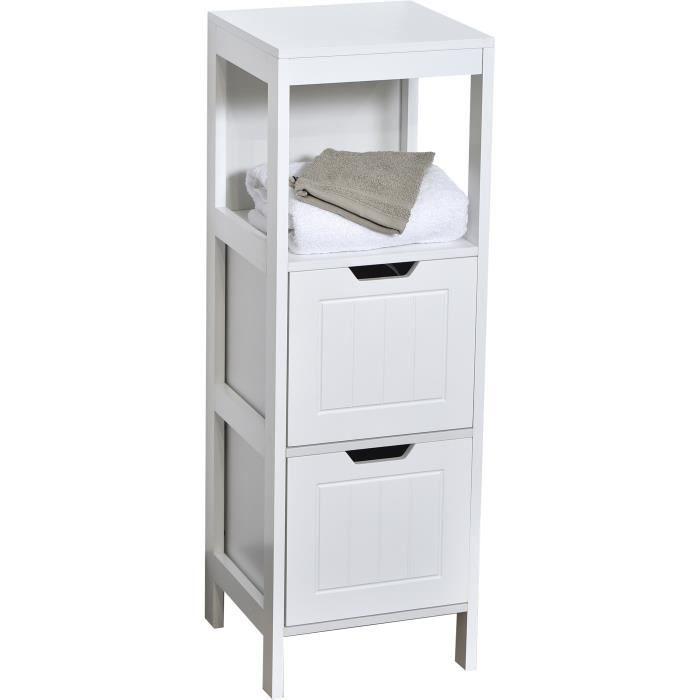 Colonne salle de bain 2 tiroirs achat vente pas cher - Meuble bas salle de bain pas cher ...