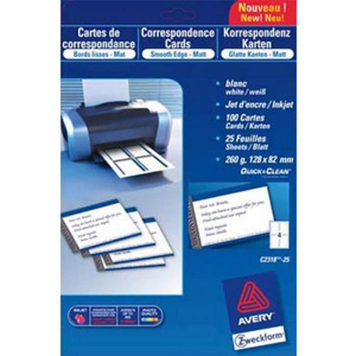 CARTE DE VISITE Pochette 200 Cartes Visite Impression Jet Denc